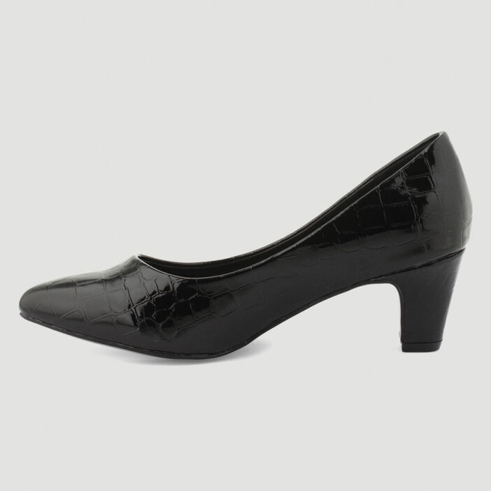 Escarpins vernis croco femme noir
