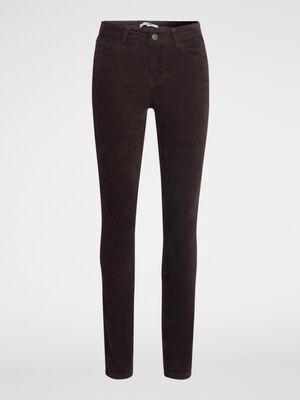 Pantalon droit en velours marron femme