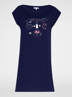 Chemise de nuit 100 coton bleu marine femme