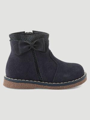 Boots zippees en cuir bleu bebef