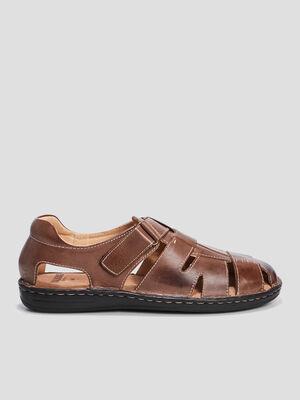 Sandales en cuir ouverture scratch marron homme