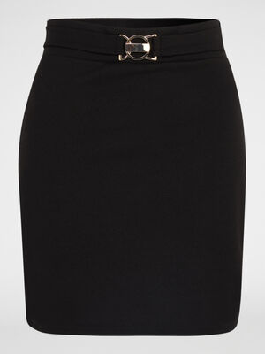 Jupe tube effet ceinture bijou noir femme