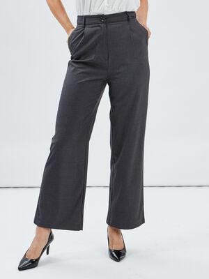 Pantalon large taille haute gris fonce femme