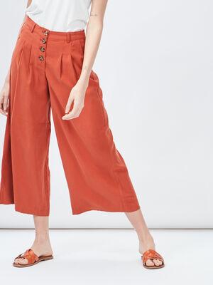Jupe culotte ample orange femme