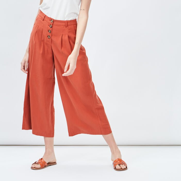 Jupe-culotte ample femme orange