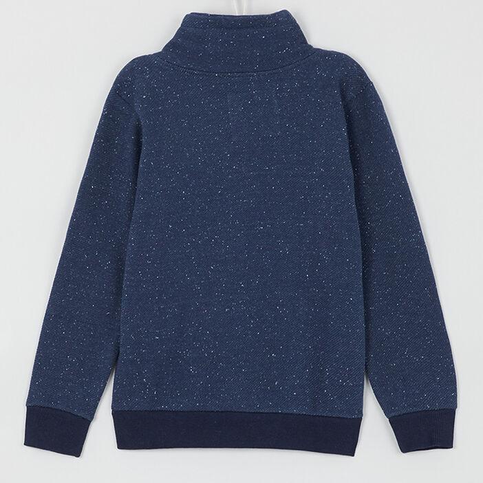 Sweat-shirt moucheté col châle garçon bleu marine