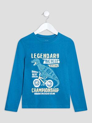 T shirt manches longues bleu canard garcon