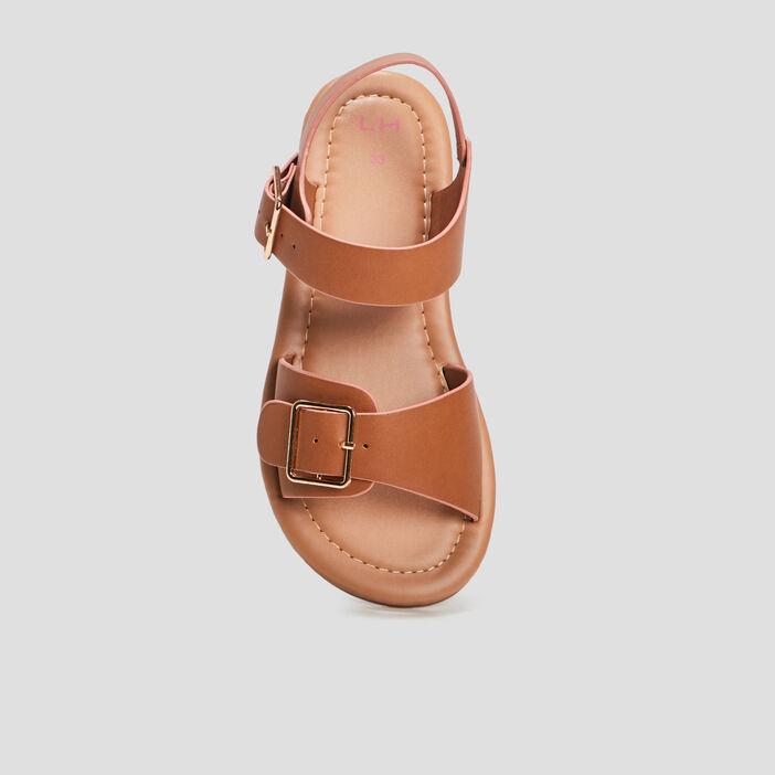 Sandales plates fille marron