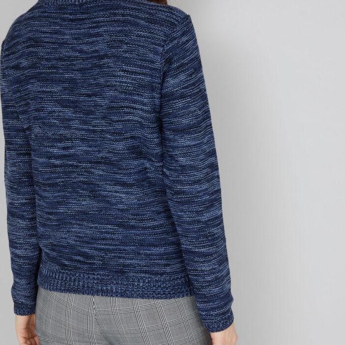 Pull maille chinée métallisée femme bleu marine