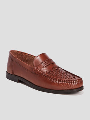 Mocassins en cuir marron homme
