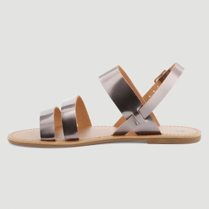 Sandales vernies à boucle femme couleur argent