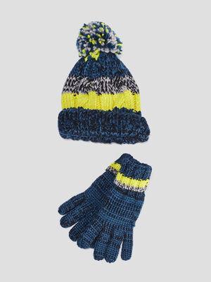 Ensemble bonnet et gants bleu fonce garcon