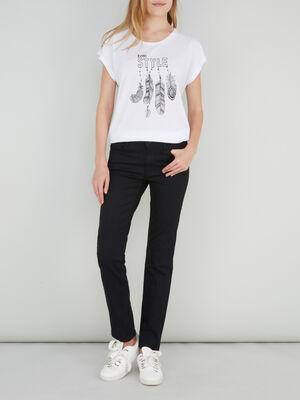 Jeans droit taille basse noir femme