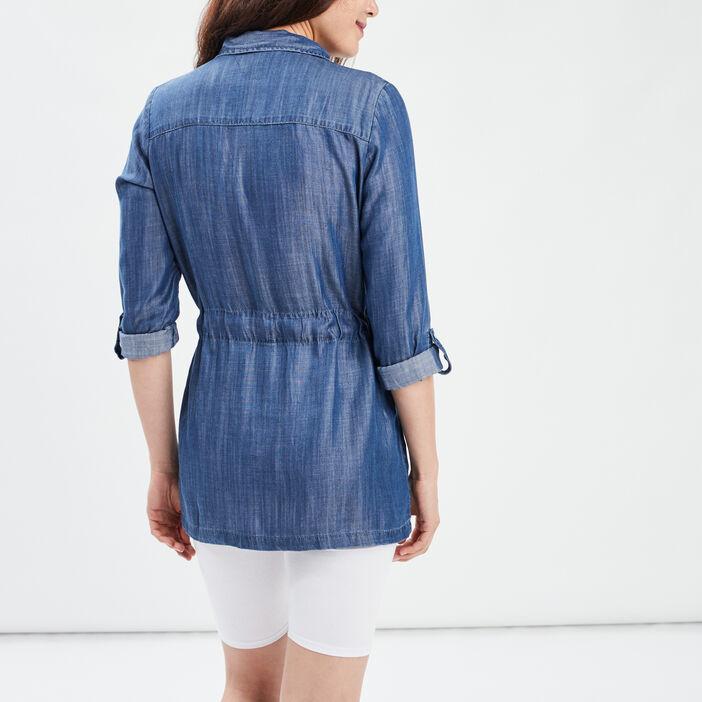 Veste cintrée zippée femme denim stone