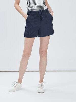 Bermuda droit ceinture bleu marine femme