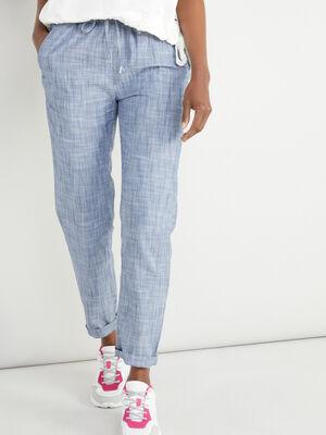 Pantalon a taille elastiquee bleu marine femme