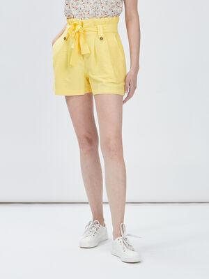Short paperbag ceinture jaune femme