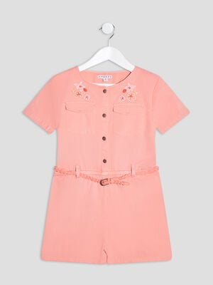 Combishort ceinturee orange corail fille
