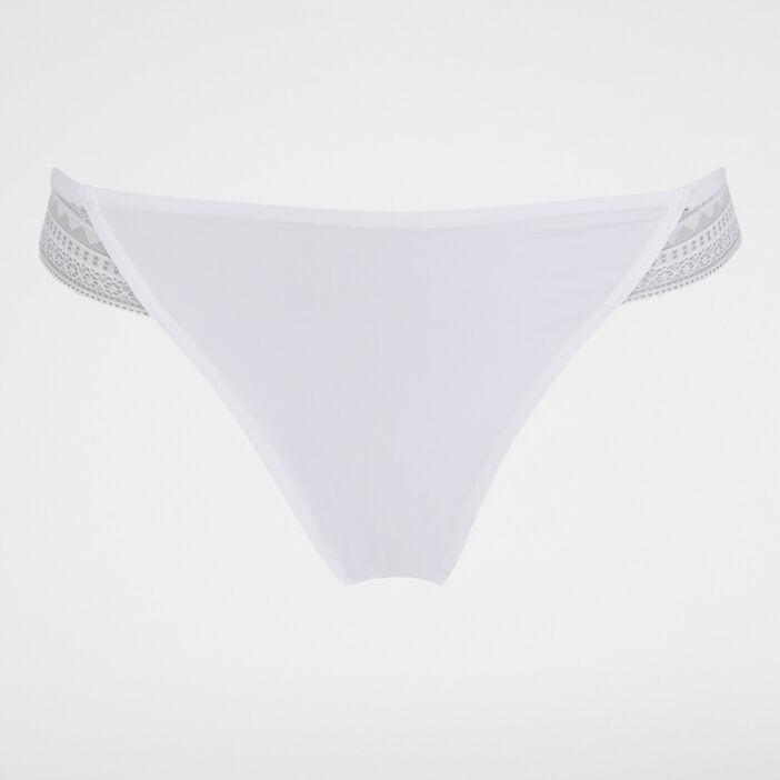 Culotte microfibre avec dentelle Micro femme blanc
