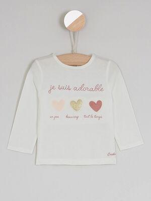 T shirt a message ecru bebef