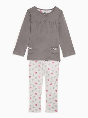 Ensemble pyjama 2 pieces gris fille