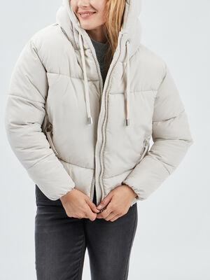 Doudoune droite a capuche beige femme