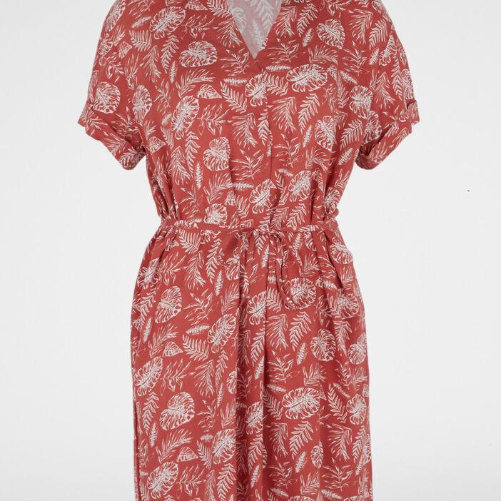 Robe imprimée col tunisien femme rose framboise