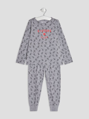 Ensemble pyjama 2 pieces gris fille