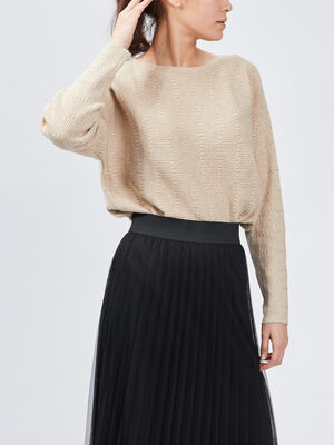 Pull avec col rond beige femme