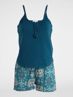 Pyjama 2 pieces en coton bleu turquoise femme