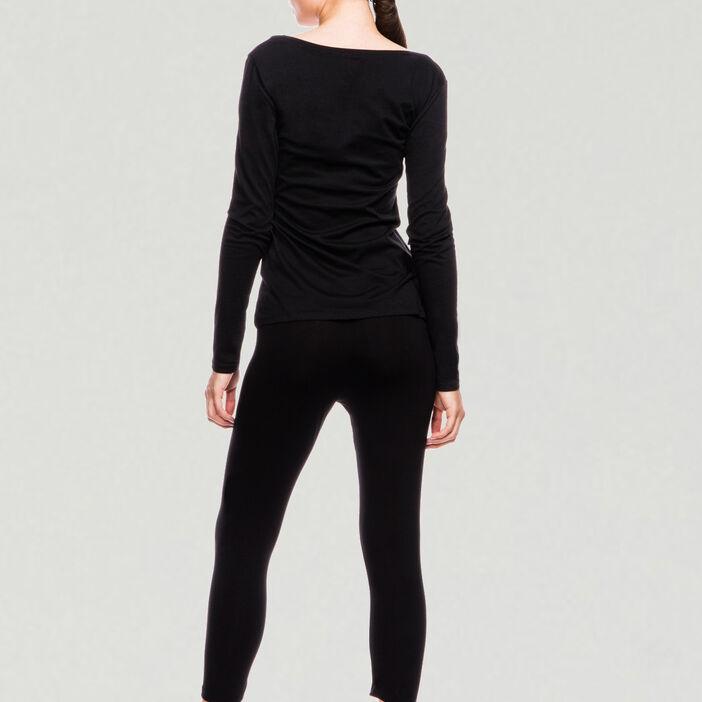 T-shirt uni à manches longues femme noir