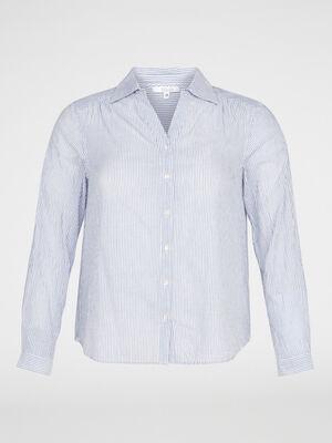 Chemise en coton rayee bleu femme