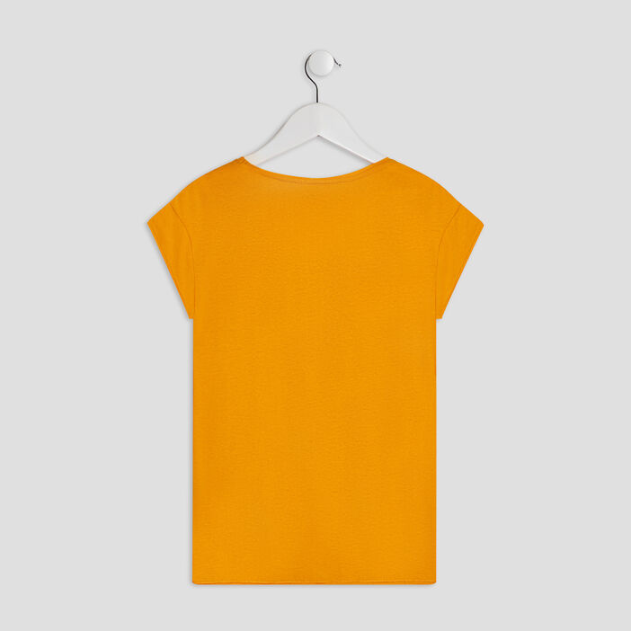 T-shirt manches courtes Creeks fille jaune moutarde