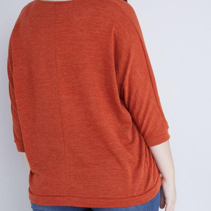 Pull ample col fantaisie irisé femme grande taille orange foncé