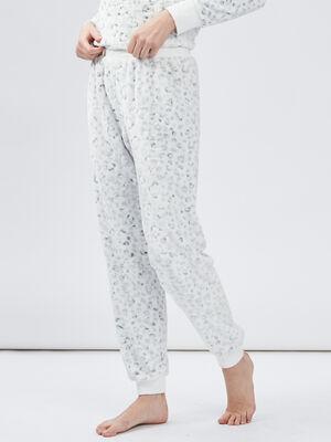 Pantalon de pyjama ecru femme