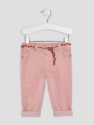 Pantalon slim effet velours rose clair bebef