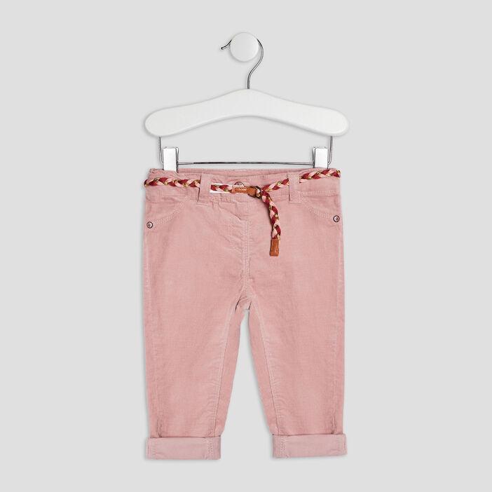 Pantalon slim effet velours bébé fille rose clair