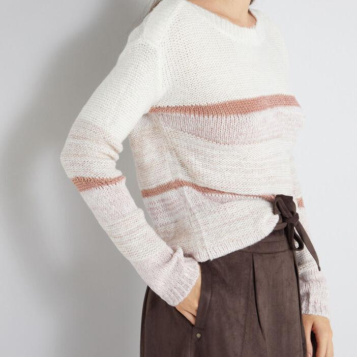 Pull à rayures fils métalliques femme multicolore