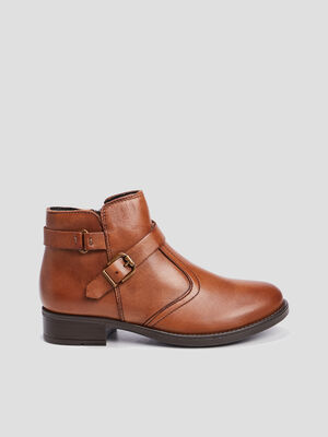 Bottines zippees en cuir camel fille