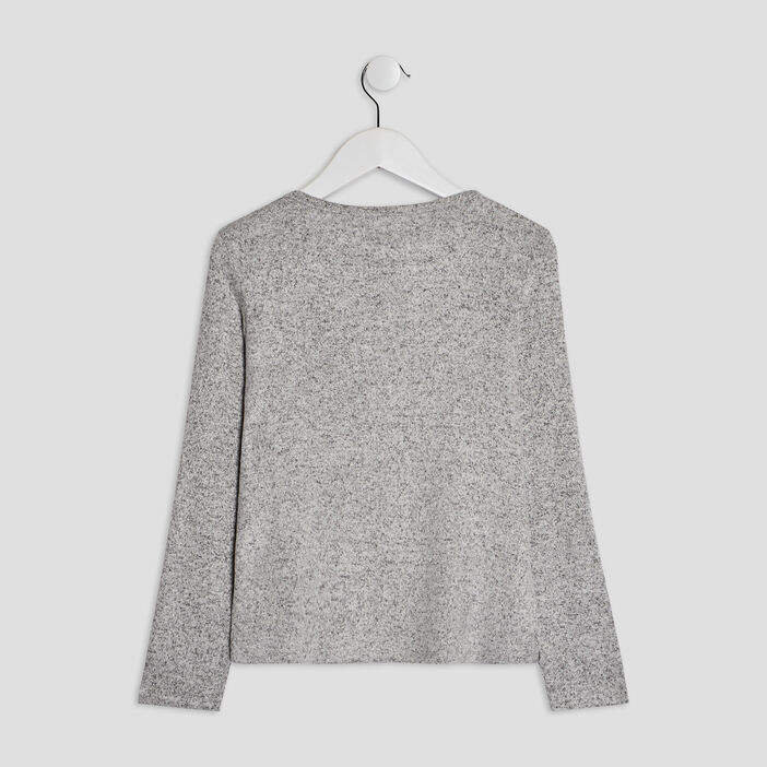 Pull avec col rond fille gris