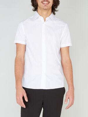 Chemise droite unie manches courtes blanc homme