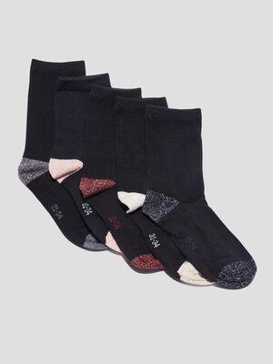 Lot 5 paires chaussettes noir fille
