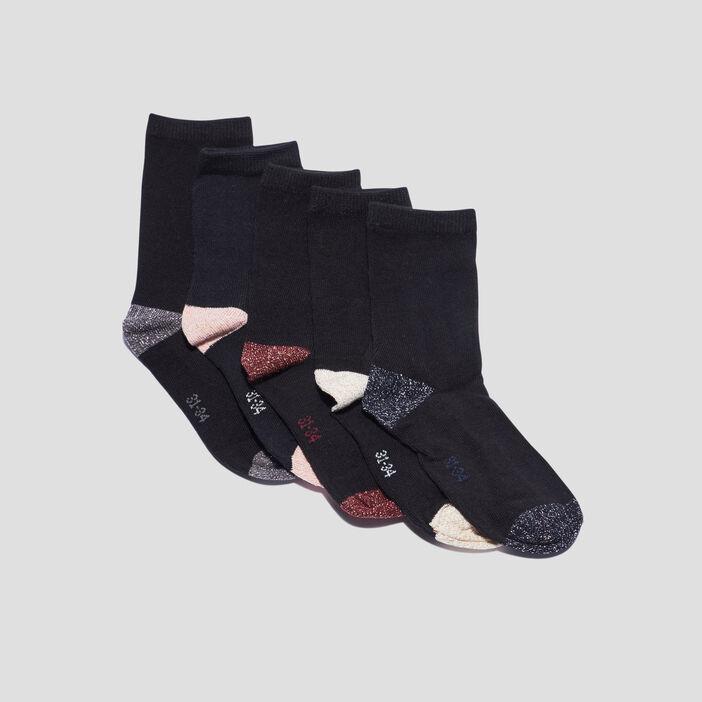 Lot 5 paires chaussettes fille noir