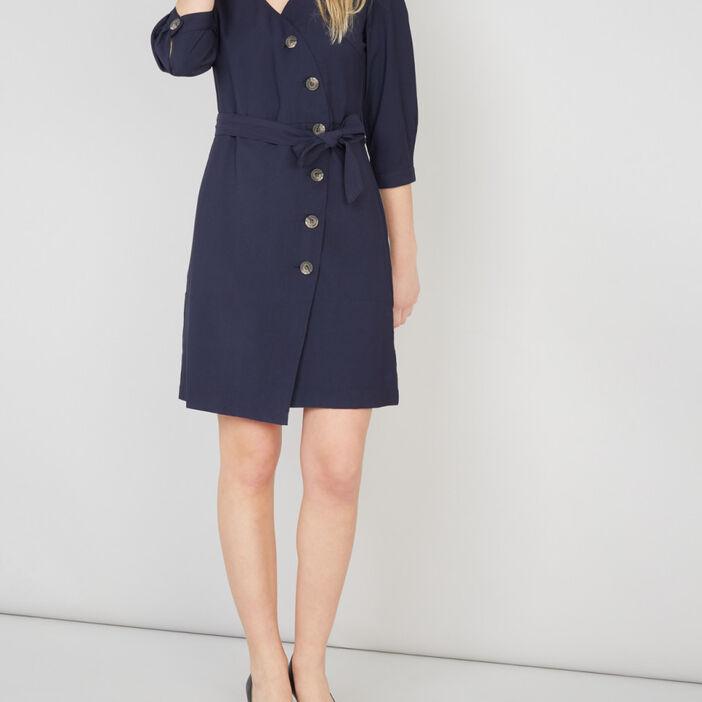 Robe portefeuille avec boutons femme bleu marine