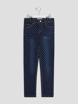 Jeans slim taille ajustable denim brut fille