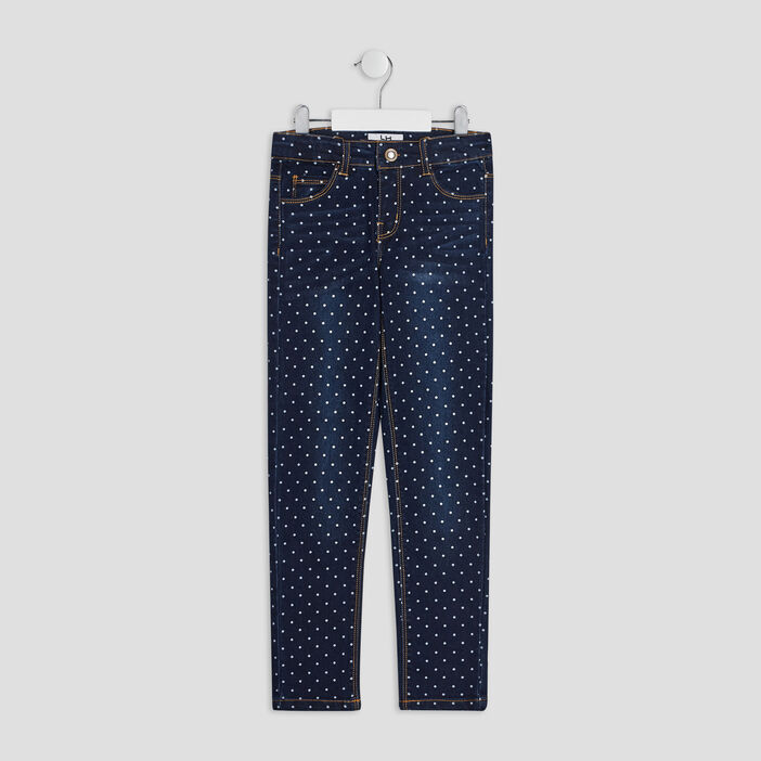 Jeans slim taille ajustable fille denim brut