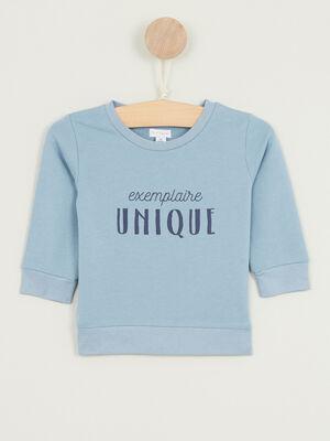 Sweatshirt avec imprime coton melange bleu gris garcon
