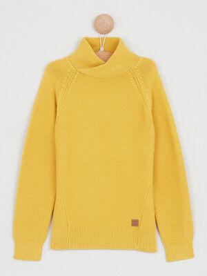 Pull col snood en coton jaune moutarde garcon