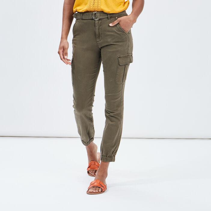 Pantalon battle taille haute femme vert kaki