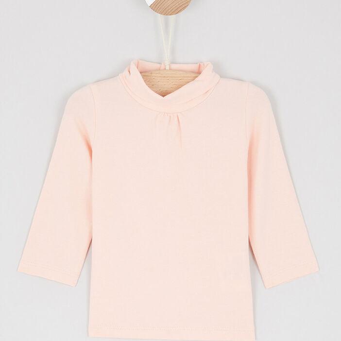 T-shirt col roulé uni fille rose clair